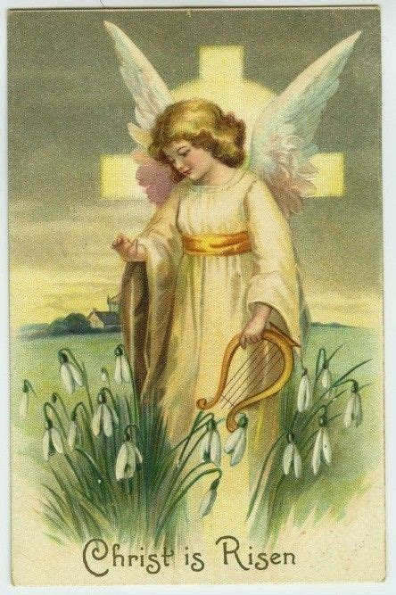 easter angel harp flowers christ  risen  embossed postcard vintage easter postcards