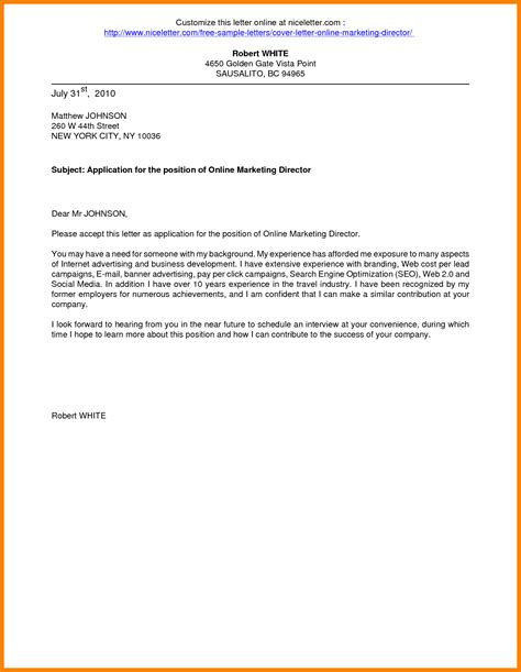 Cover Letter Letter Of Application Exles 8 Application Cover Letter Exle Assembly Resume