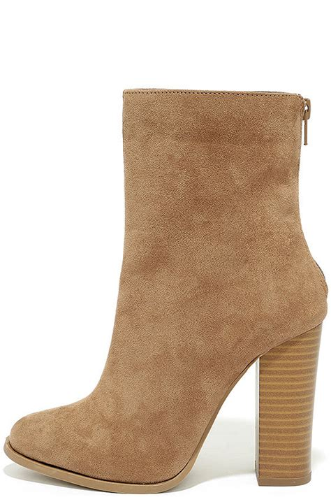 chic taupe suede boots mid calf boots high heel boots