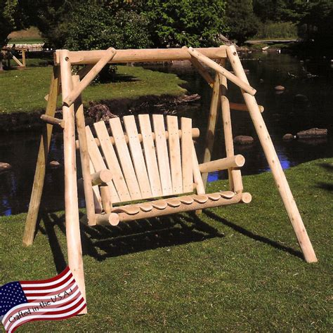 log swings lakeland mills white cedar log porch swing and stand set
