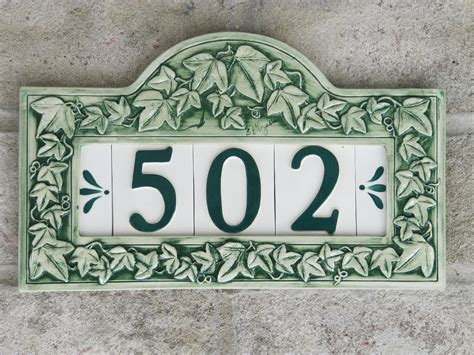custom painted ceramic house number tile by cgullceramics