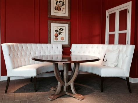 I'm crazy for a curved banquette, and this pair from Lorts