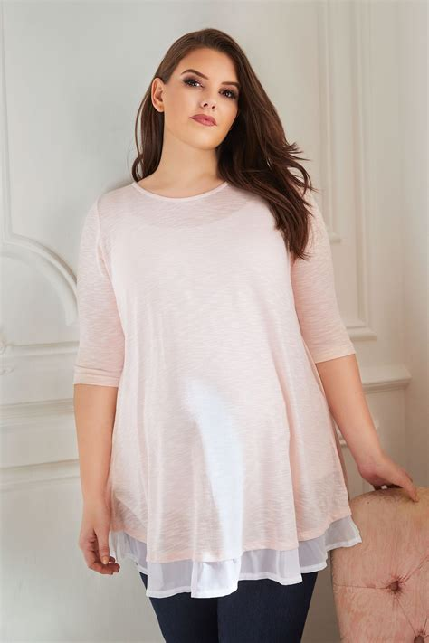 Napoclean Strong By Nry Fashion bump it up maternity pink knit top with chiffon layer