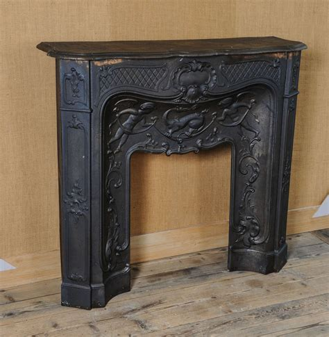 Iron Fireplace Mantel by 19th Century Cast Iron Pompadour Fireplace