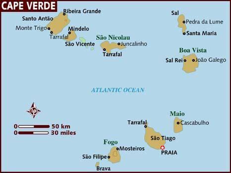 cape verde islands map map of cape verde