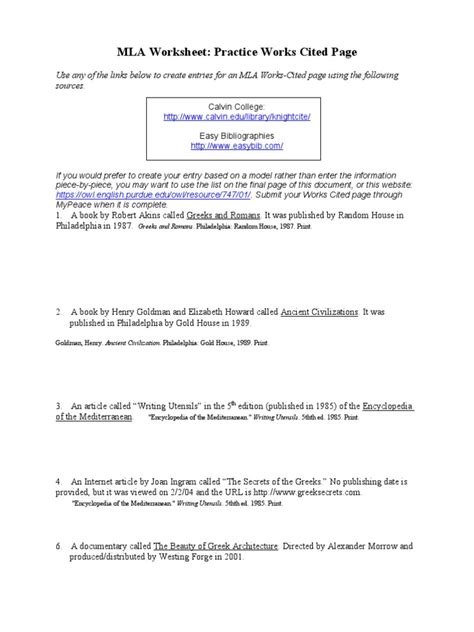 Mla Practice Worksheet by Mla Practice Worksheet Done