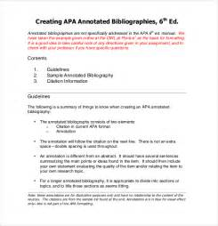 exles of annotated bibliography apa format cover