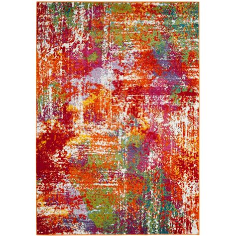 watercolor area rug safavieh watercolor orange green 8 ft x 10 ft area rug wtc695d 8 the home depot