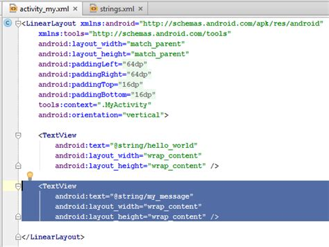android layout editor xml creating a simple hello world android project codeproject