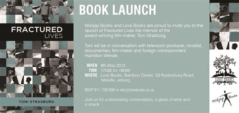 Book Release Invitation Letter Launch Invitation Toni Strasburg S Fractured Lives Www Ilovebooks Co Za