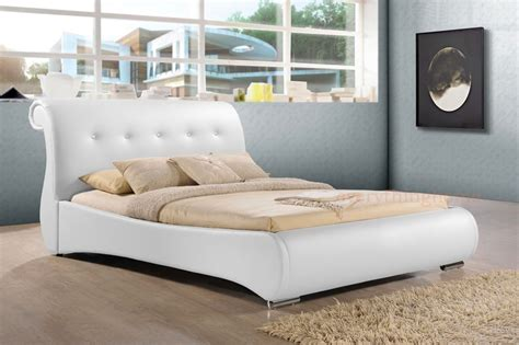 White Leather Sleigh Bed Black Or White King Or Faux Leather Tufted Scroll Sleigh Bed Frame