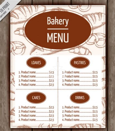 Free Bakery Flyer Templates Yourweek 580d33eca25e Free F I Menu Template