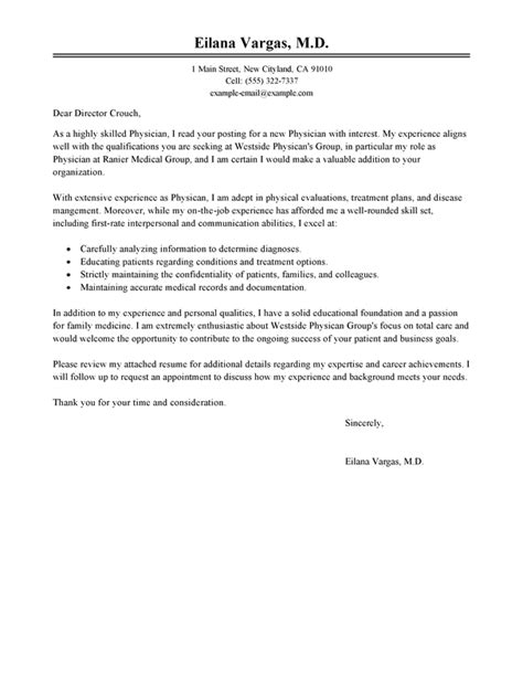 Management Physician Cover Letter by Best Doctor Cover Letter Exles Livecareer