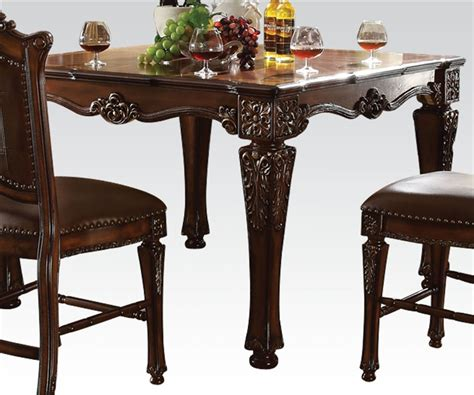 acme 5 pc hennessy collection cherry brown finish wood vendome 5 piece square top counter height table dining set