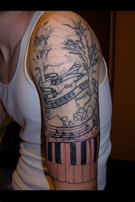 1 4 sleeve tattoo musical the scale in this