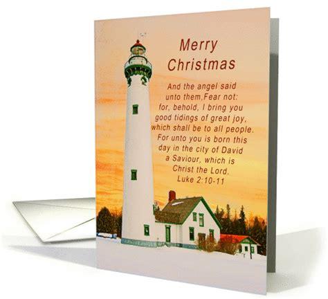 merry christmas lighthouse winter scene religious card