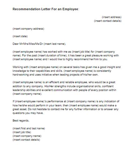Recommendation Letter For Great Employee secretarial secretarial 10 types of business letters