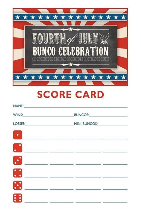 printable christmas bunco cards 4th of july bunco bunco pinterest fourth of july
