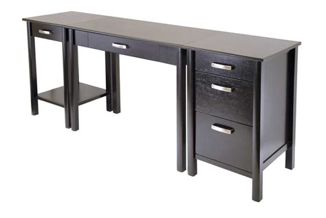 Modern Desks With Drawers Simple Modern Computer Desk Design With Black Accent Combined Drawers And File Shelves Also