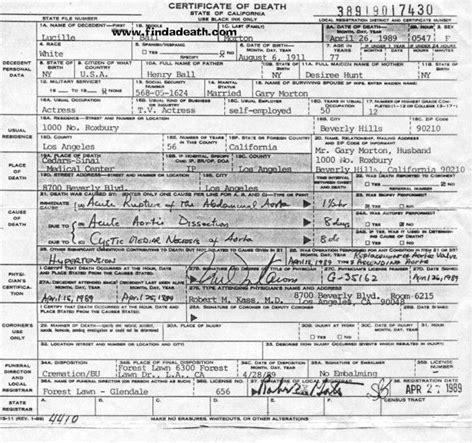 desi arnaz death lucille ball s death certificate cause of death was acute