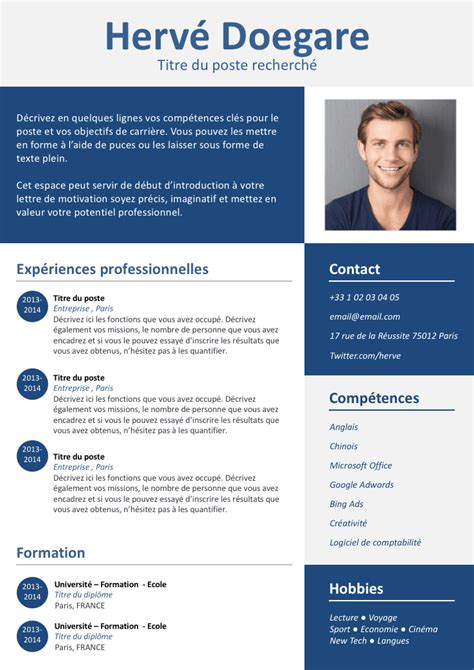 Modele Cv Simple Francais by Exemple De Cv Simple Et Design Gratuit 224 T 233 L 233 Charger