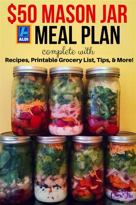 printable salad in jar recipes aldi 50 mason jar salad meal plan queen of free