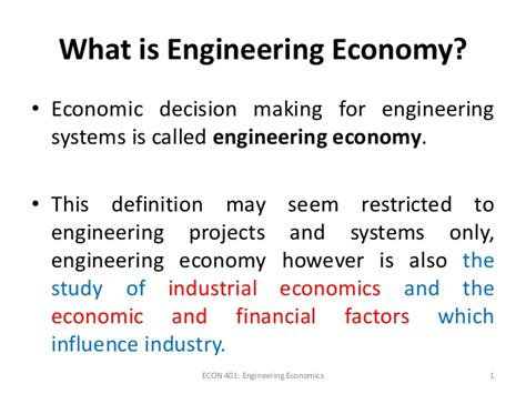 Economics Engineering 1 engineering economy