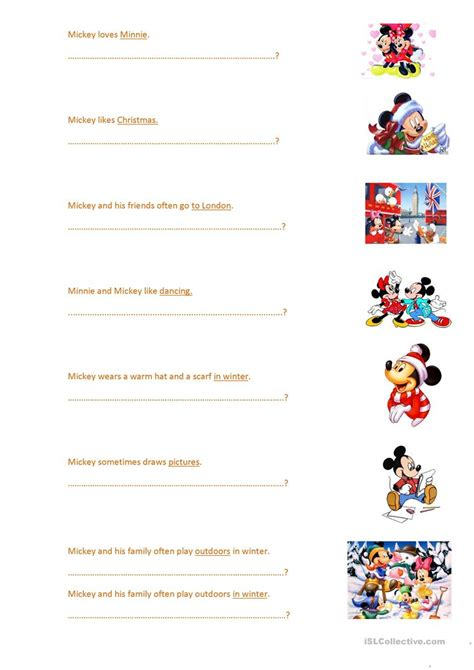 Mouse Worksheet Answers by Wh Questions With Mickey Mouse Worksheet Free Esl