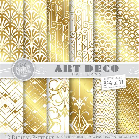 printable art deco paper gold white art deco digital paper pack 8 1 2 x