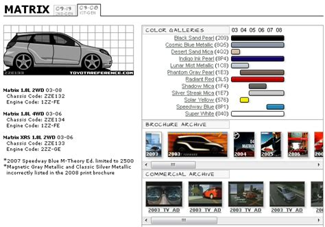 Toyota Recommendation Chart Matrix Exterior Color Option Reference Appearance 03 08