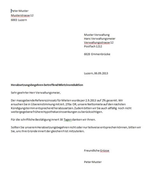 Mahnung Ablehnen Muster Mietzinsreduktion Musterbrief Muster Vorlage Ch