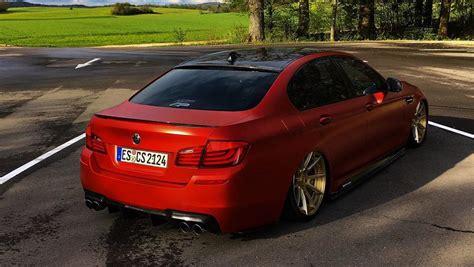 custom bmw  series  red wrap slammed modifiedx