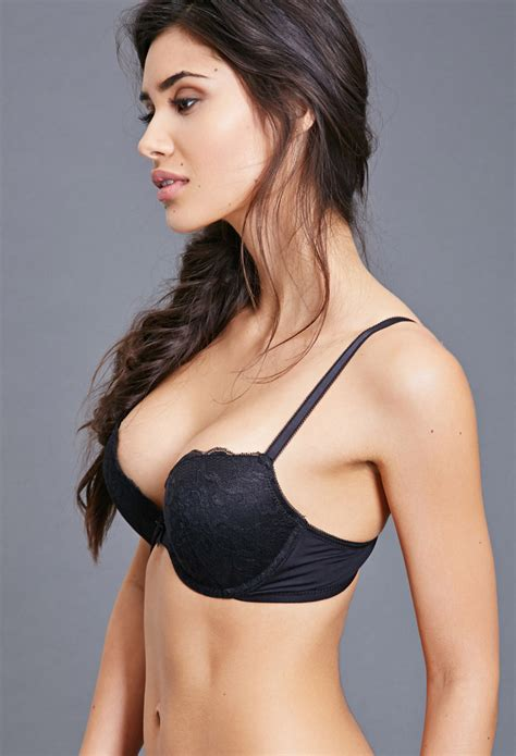 bra push up lyst forever 21 lace push up bra in black