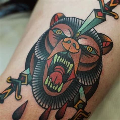 american traditional bear tattoo 36 grizzly designs with meaning