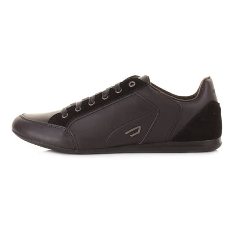 diesel shoes mens diesel wanted black leather style fashion trainers