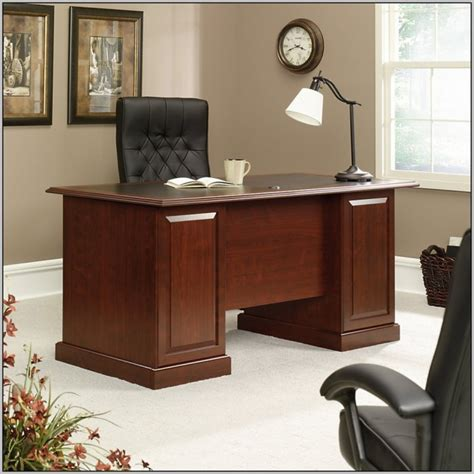 office depot executive desk sauder office port executive desk in dark alder desk