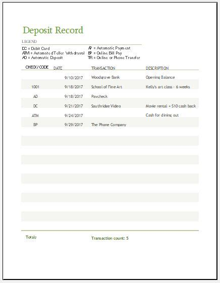 record template in excel deposit record template for ms excel excel templates