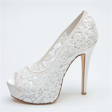 Wedding Shoes Heels White by See Through Lace Bridal Wedding Shoes Platform Peep