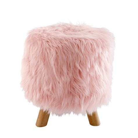 blush pink fur chair blush pink faux fur stool maisons du monde