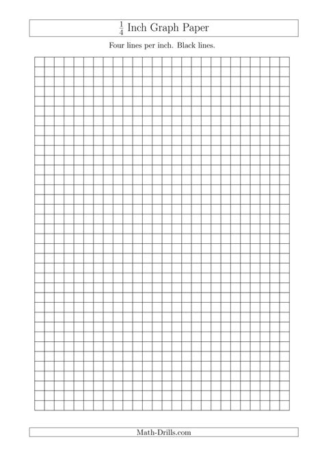 printable graph paper math drills 1 4 inch graph paper with black lines a4 size