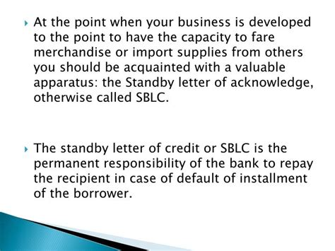 Business Letter Of Credit Definition Ppt Meaning Of Standby Letter Of Credit And Its