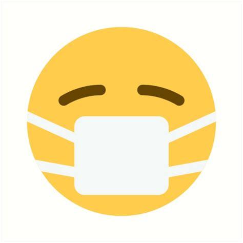 printable emoji mask quot face with medical mask emoji quot art prints by winkham