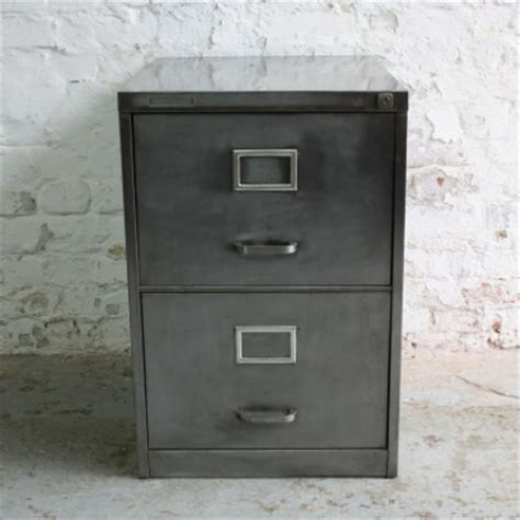 Vintage Roneo 2 drawer stripped steel filing cabinet