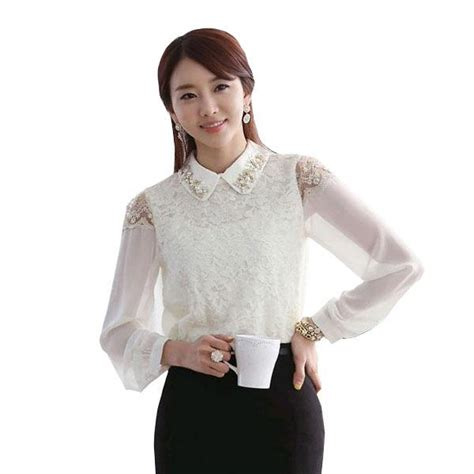 Lace Collar Chiffon Blouse pan collar lace shirt white lace blouse chiffon
