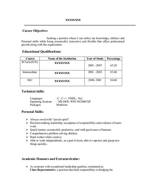 Resume Career Objective Sles For Freshers Fresher Resume Sle17 By Babasab Patil