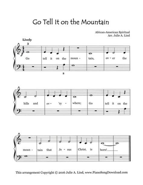 printable lyrics to go tell it on the mountain go tell it on the mountain free easy sheet music with lyrics