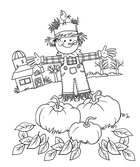 easy scarecrow coloring pages fall coloring page print fall pictures to color at
