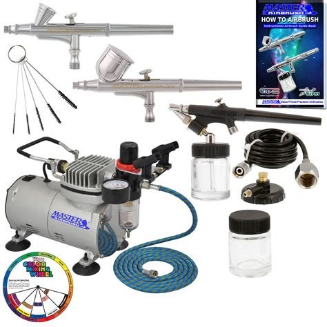 kit air new 3 airbrush compressor kit dual spray air brush