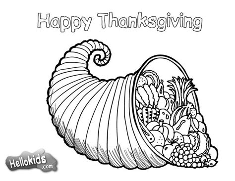 cornucopia coloring page thanksgiving cornucopia coloring pages hellokids