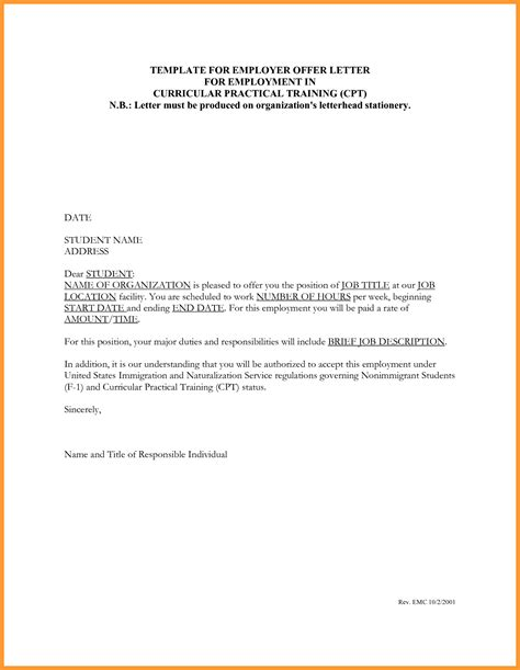 Employment Letter Sle For Ohip Counter Offer Letter Template